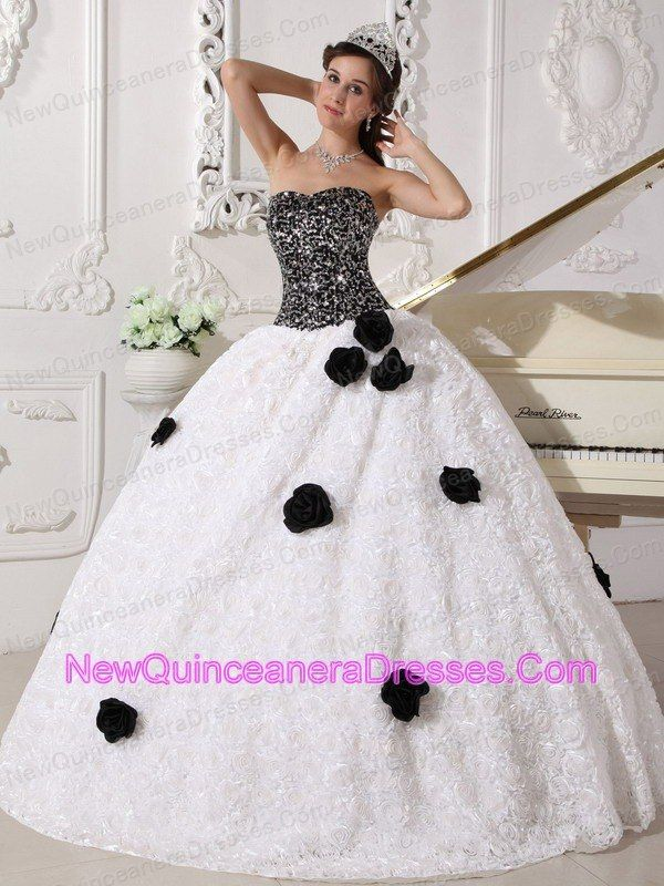 3788d2175c0 Remarkable White and Black Quinceanera Dress Strapless Special Fabric  Sequins and Hand Made Flowers Ball Gown