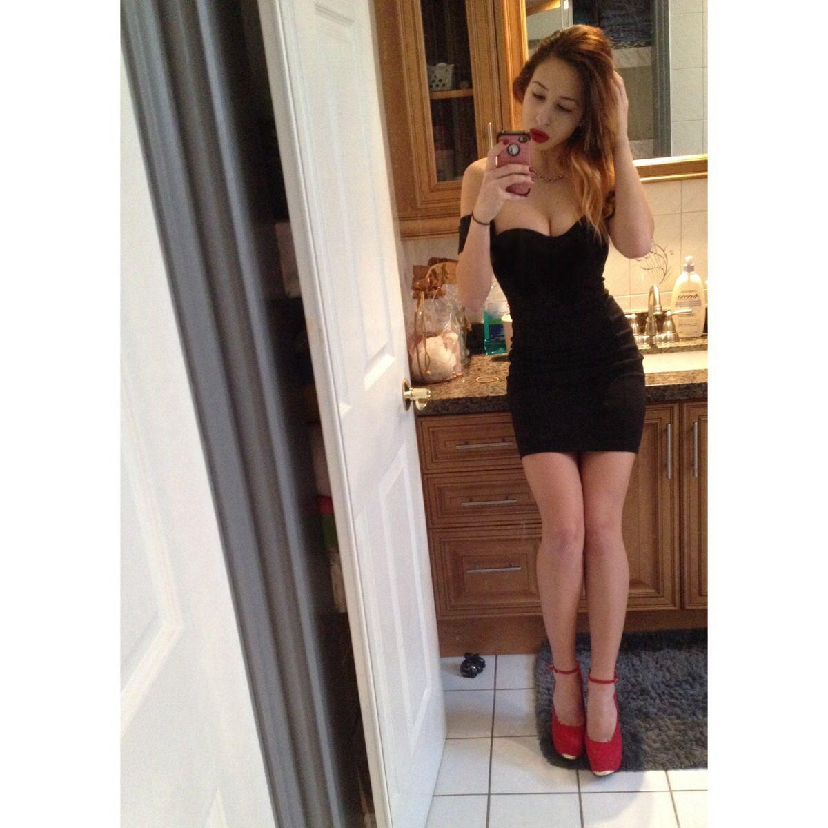 Little black dress • off the shoulder • red lips • red pumps • ombré hair