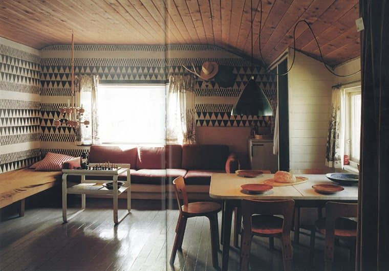 finnish summer house. wall treatments; fantastic wall paper, wood panel ceiling