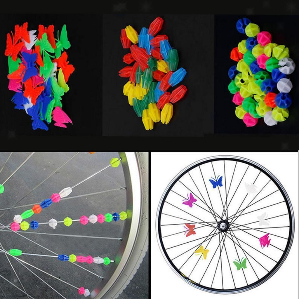Lot 36Pcs Bicycle Bike Wheel Plastic Spoke Bead Children Kids Clip Colored Decor