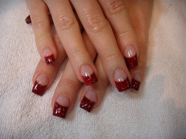 red tip nail design art