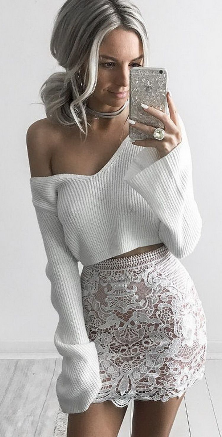 21237103054 Off the shoulder sweater crop sweater cropped sweater with skirt white no  bra nipple