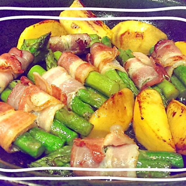レシピとお料理がひらめくSnapDish - 61件のもぐもぐ - アスパラベーコン+ピーチ(*^▽^*) asparagus bacon w/ peach by The Reinharts