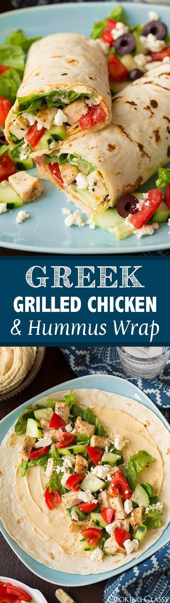 Greek Grilled Chicken & Hummus Wrap