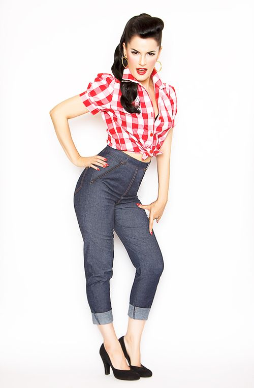 Rockabilly Girl by Bernie Dexter Blue Denim High Waisted Skinny Jeans -  Unique Vintage - Prom dresses c85de550114