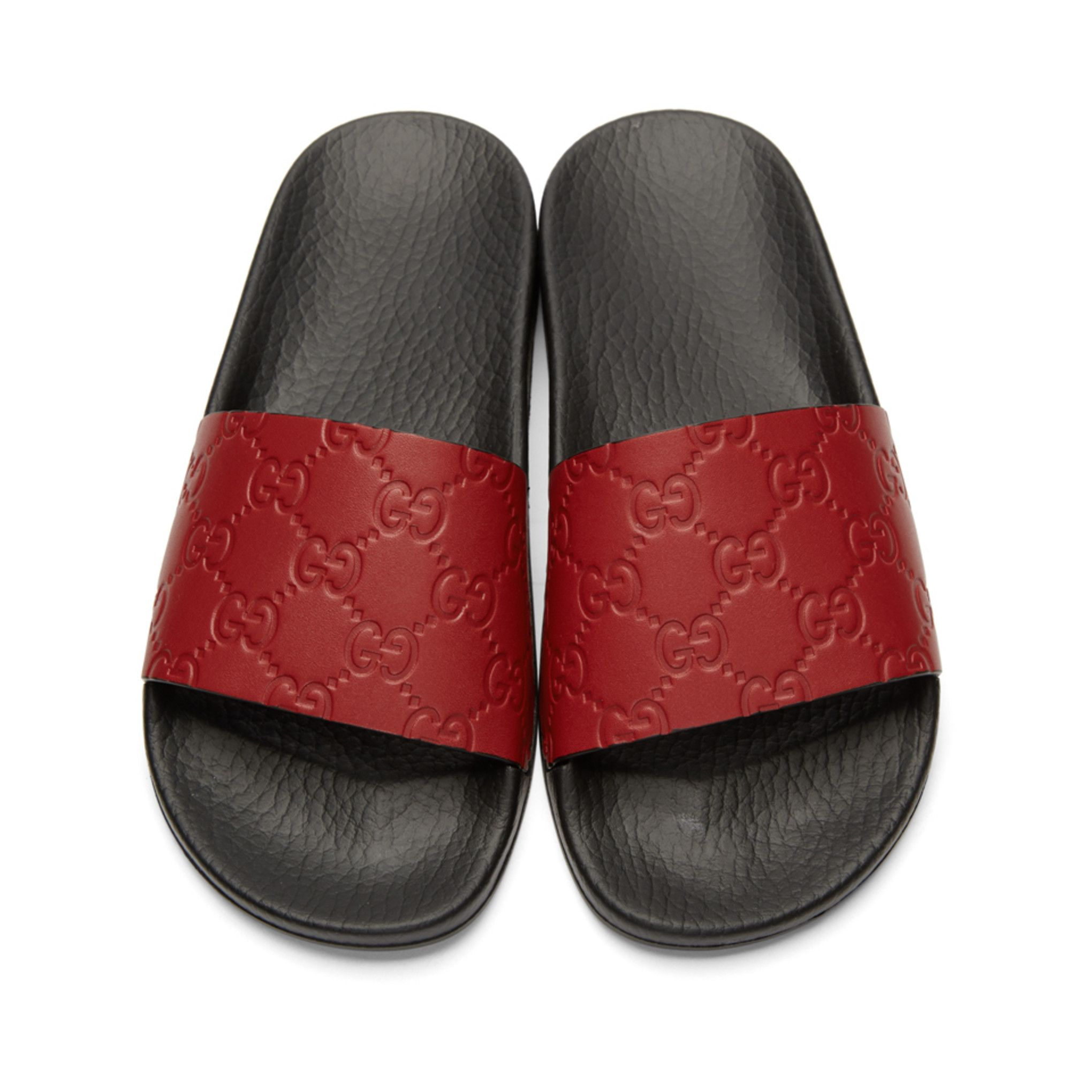 88e490073e24c Gucci - Red GG Supreme Pool Slides