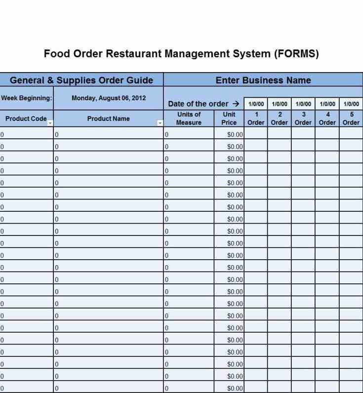 Manage His Business Form Restaurant Order Form Template