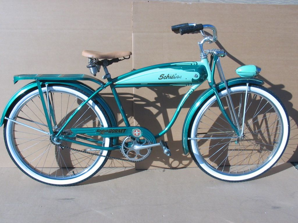 8a824072539 1956 Schwinn Deluxe Hornet. Only the kids of wealthy families had this kind  of bike in 1956!
