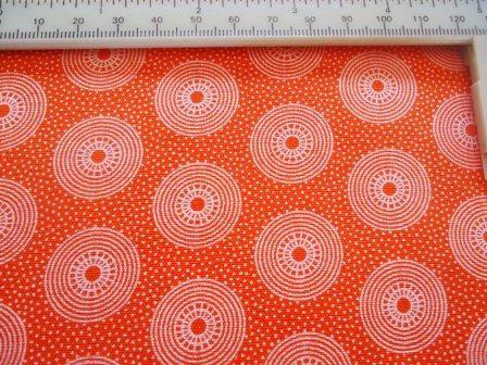 hertex range 1 metre (1.1 yards) orange South Africa medium weight cotton with white retro circles
