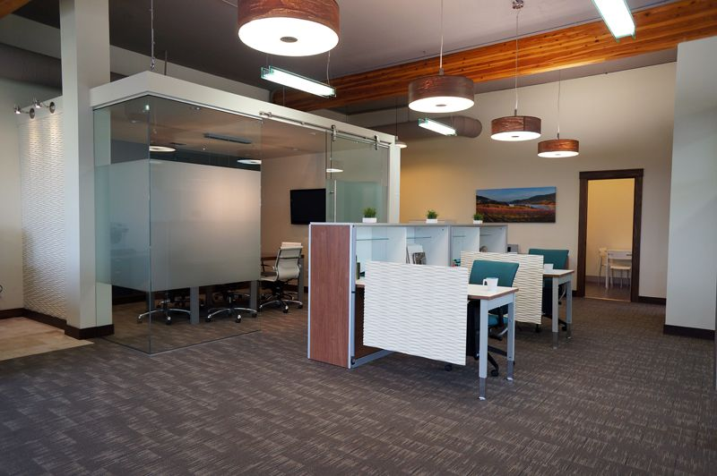 Modern open office design by hatch interior design for Interior decorator kelowna bc