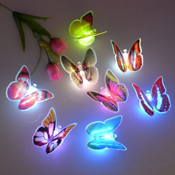 Led Lamps Led Night Lights Colorful Changing Creative Glowing Butterfly Led Night Light Lamp With Suction Pad Home Room Party Desk Wall Home Decoration