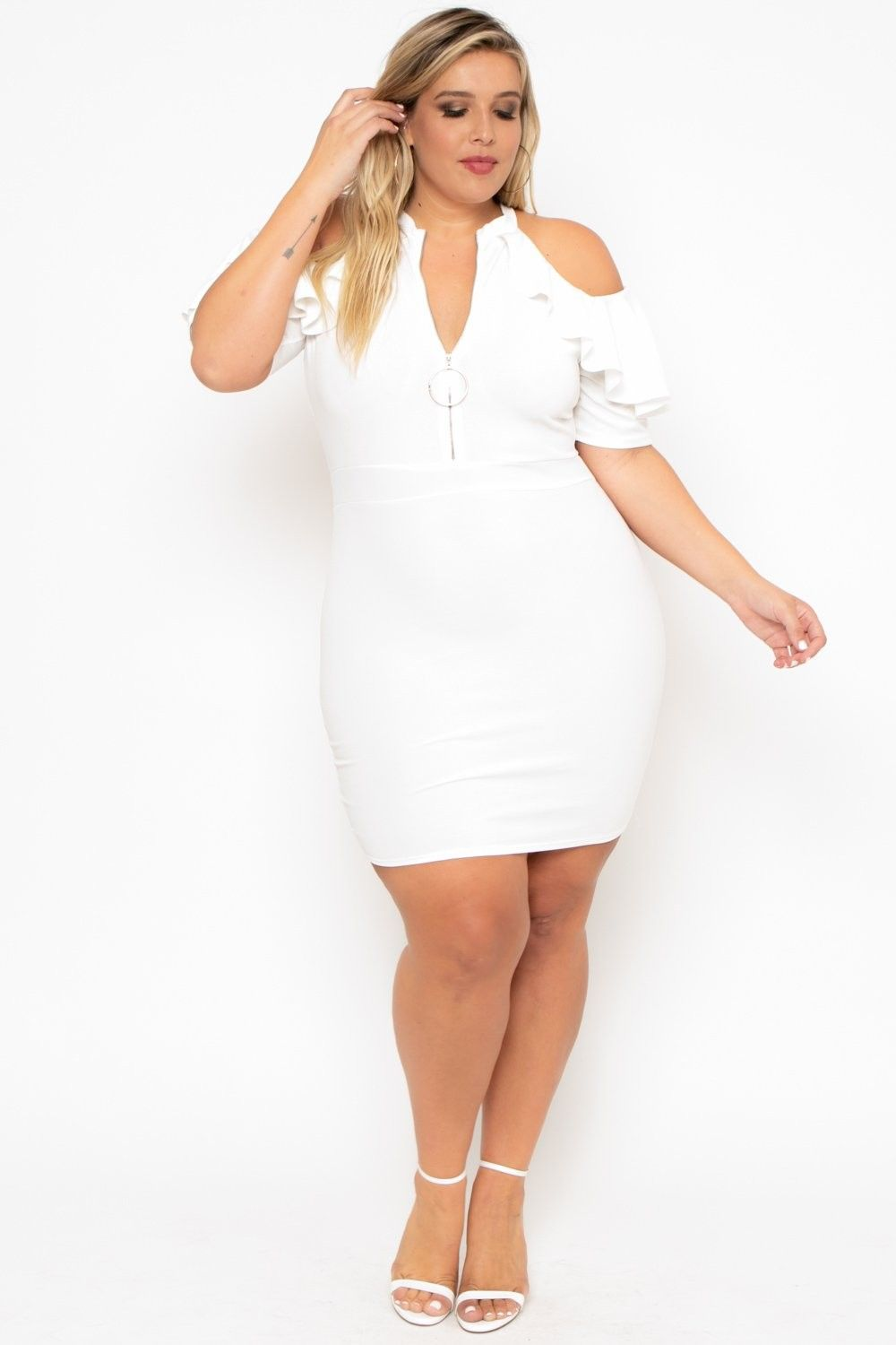29166d37163cf Plus Size Zip Me Up Dress - Ivory  36.00  fashion  ootd  outfit  oufits   moda  plussize  dress  dresses  plussizeclothing  plussizedress  curve   curvy  sexy ...