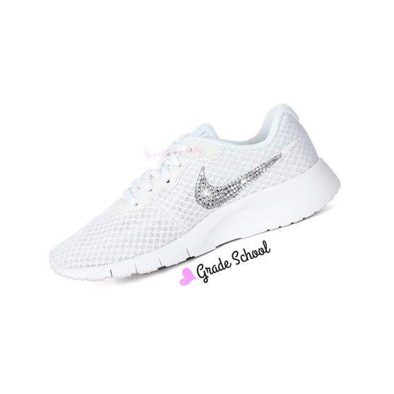 63ca05fa015df Nike Tanjun White Grade School ~ Girls ~ Bedazzled Nike ~ Blinged Nikes ~  Rhinestone Nike - Swarovsk