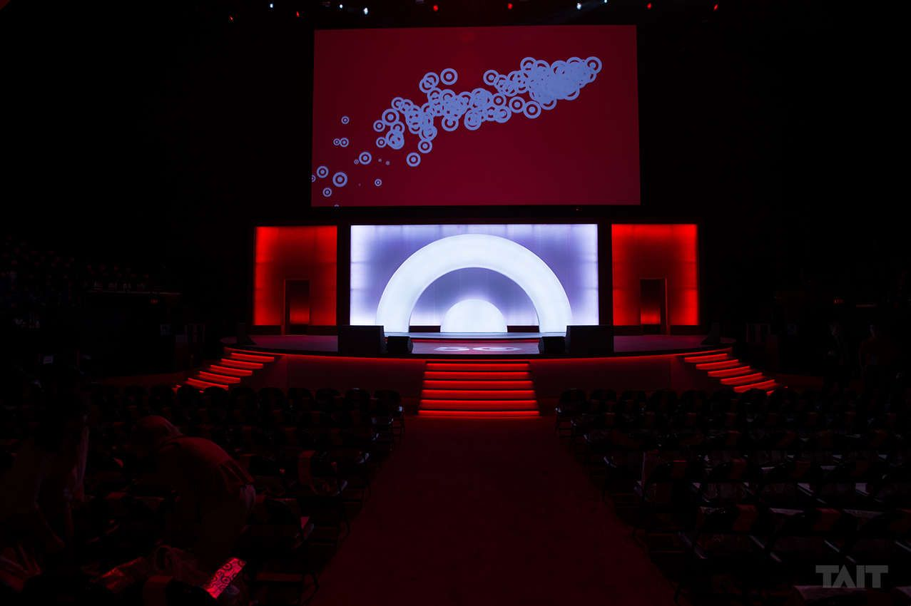 Stage built for Target, LEDlit revolving wall allowed for