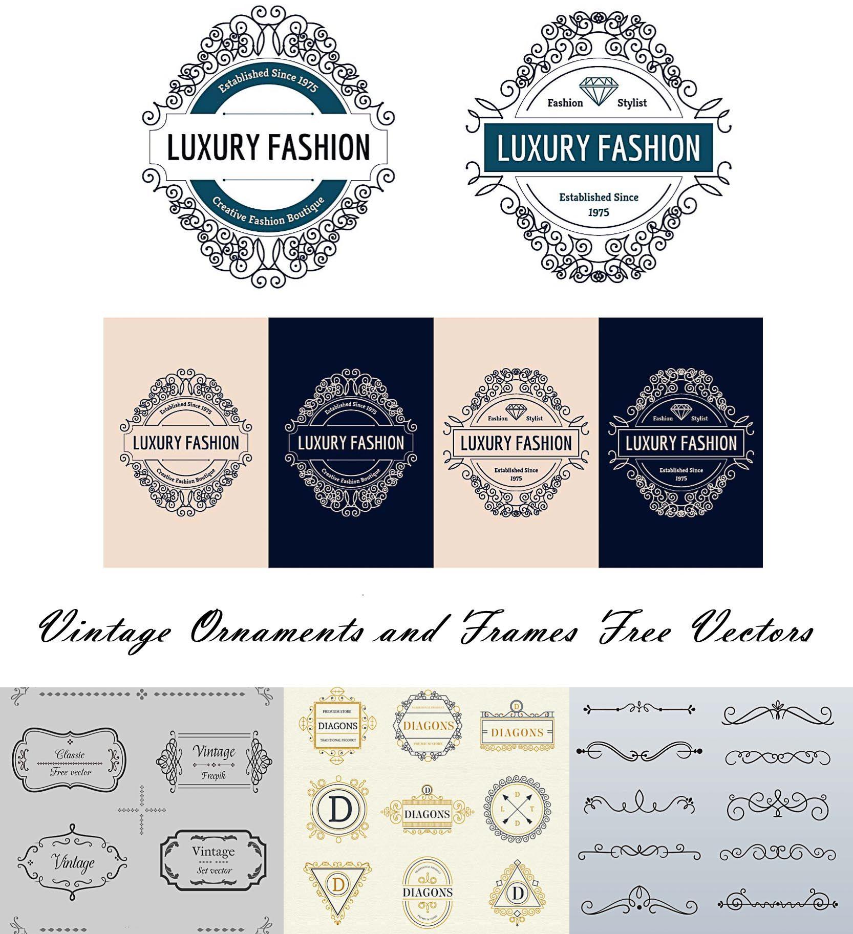 Vintage border ornaments and logos vector   Vintage borders, Vector ...