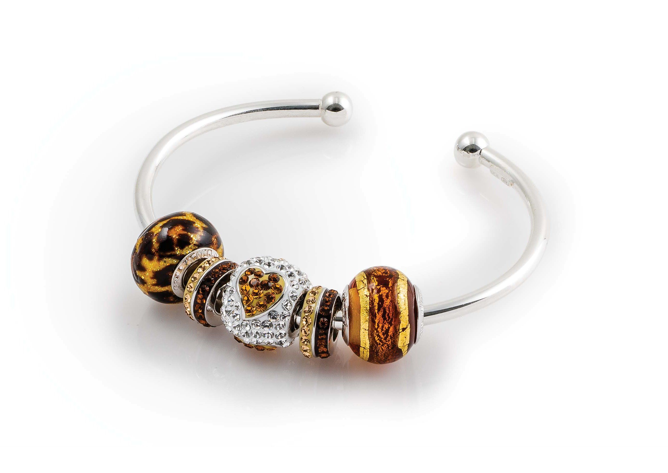 Amore Amp Baci Gold And Brown Beads Silver Bracelet