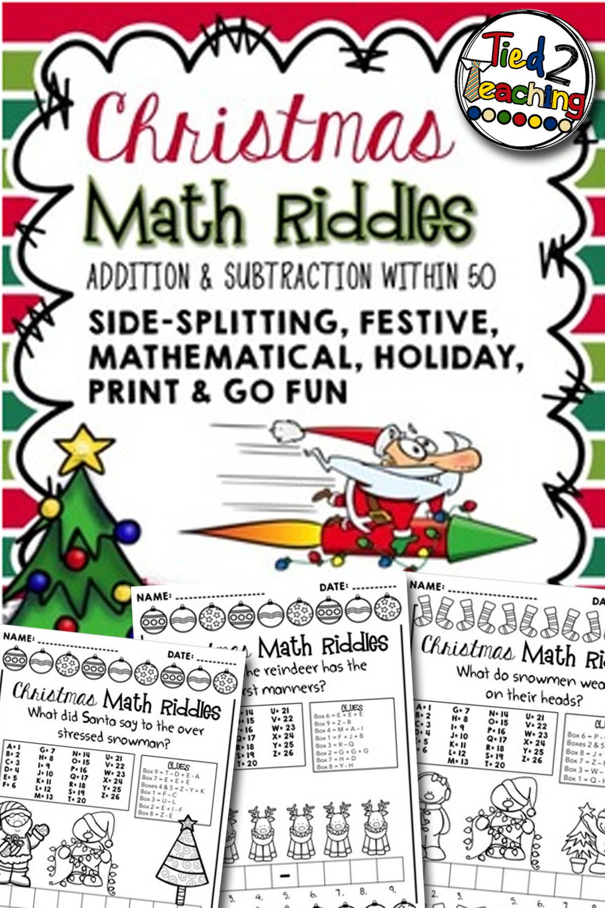 Christmas Math Riddle Printables (With images) Math