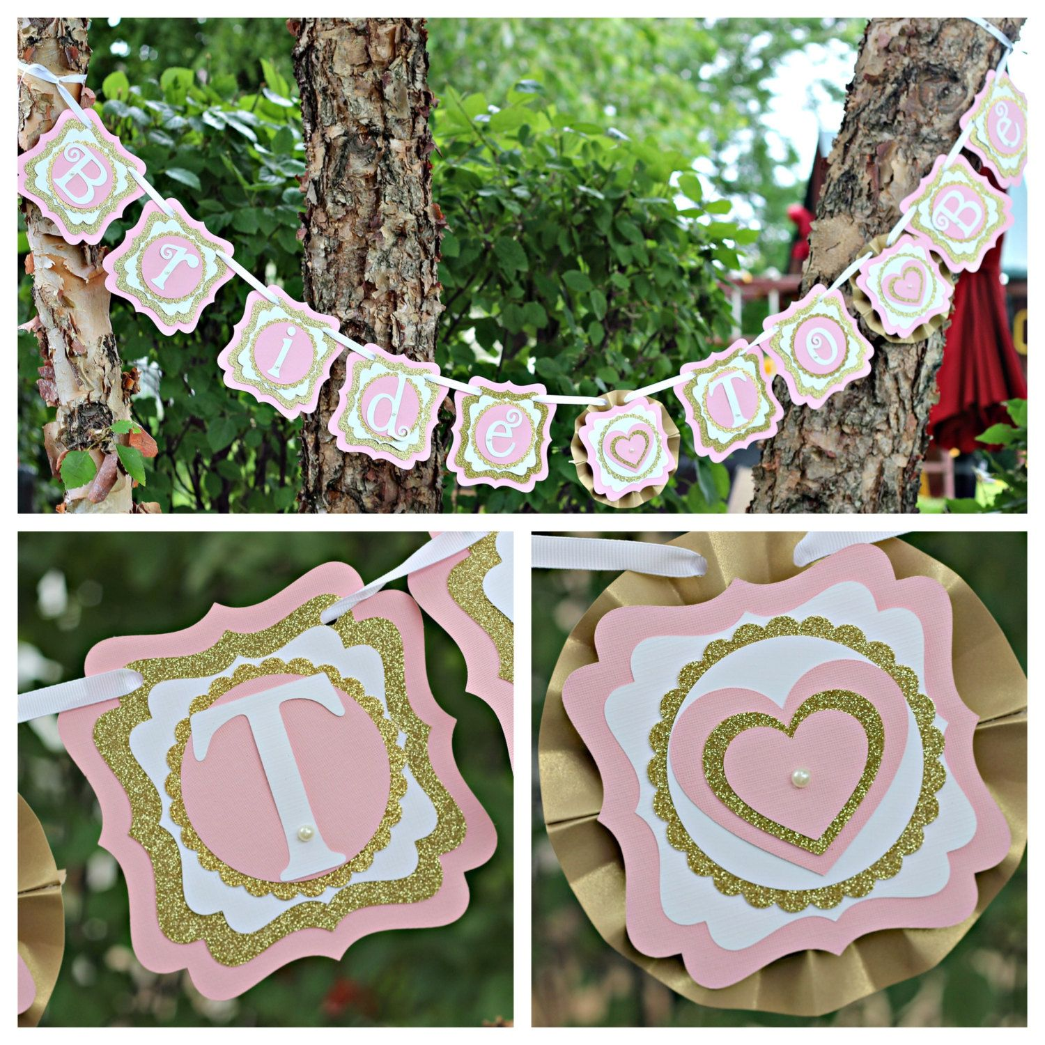 "Pink / Gold ""Bride-To-Be"" Wedding / Bridal Shower Banner.  Fully assembled and customizable. by CharmingTouchParties on Etsy"