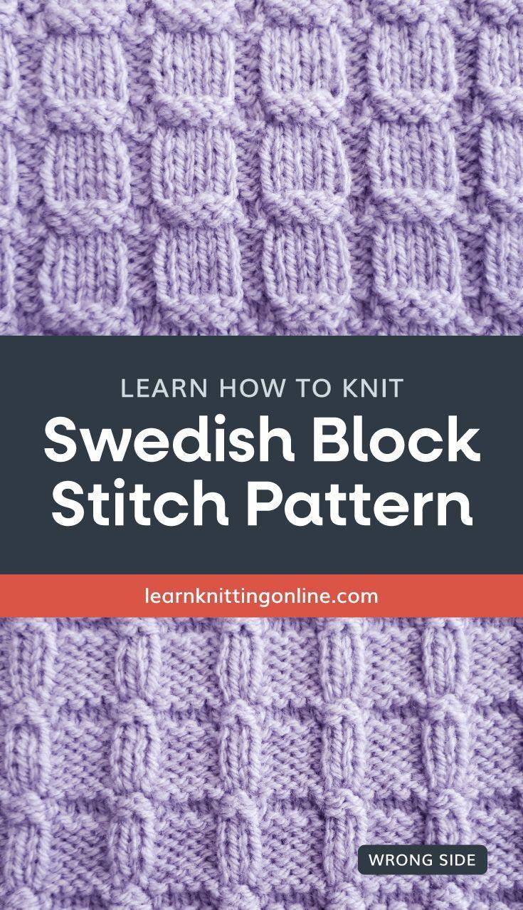 Swedish Block Stitch Pattern [FREE Knitted Stitch Pattern ...