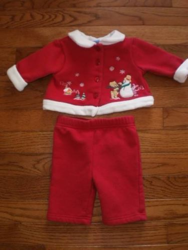 BABY infant GIRL 0-3 mo DISNEY 2pc OUTFIT set CHRISTMAS WINNIE the POOH, PIGLET!