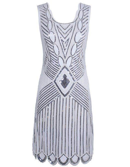 b4ca6897 PrettyGuide Women 1920s Gatsby Sequin Art Deco Scalloped Hem Inspired  Flapper Dress: Amazon.co.uk: Clothing £20