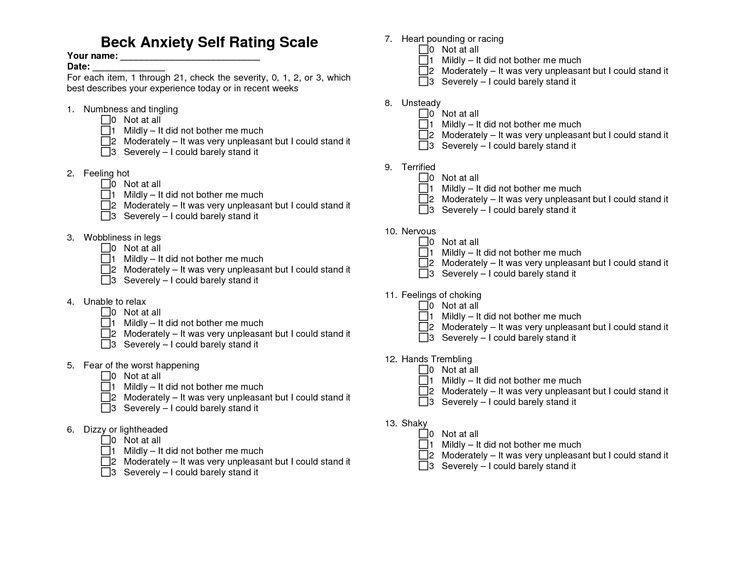 Beck Depression Scale Form Printable  Health   Image Results