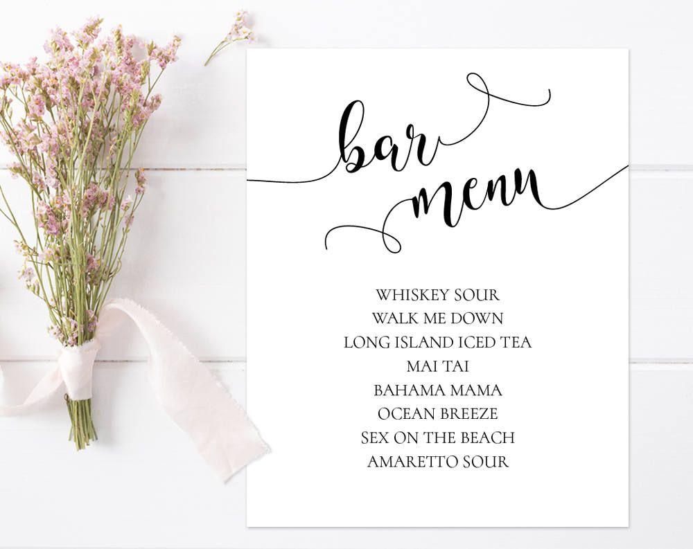 bar menu sign, bar menu wedding sign, bar menu template, wedding bar