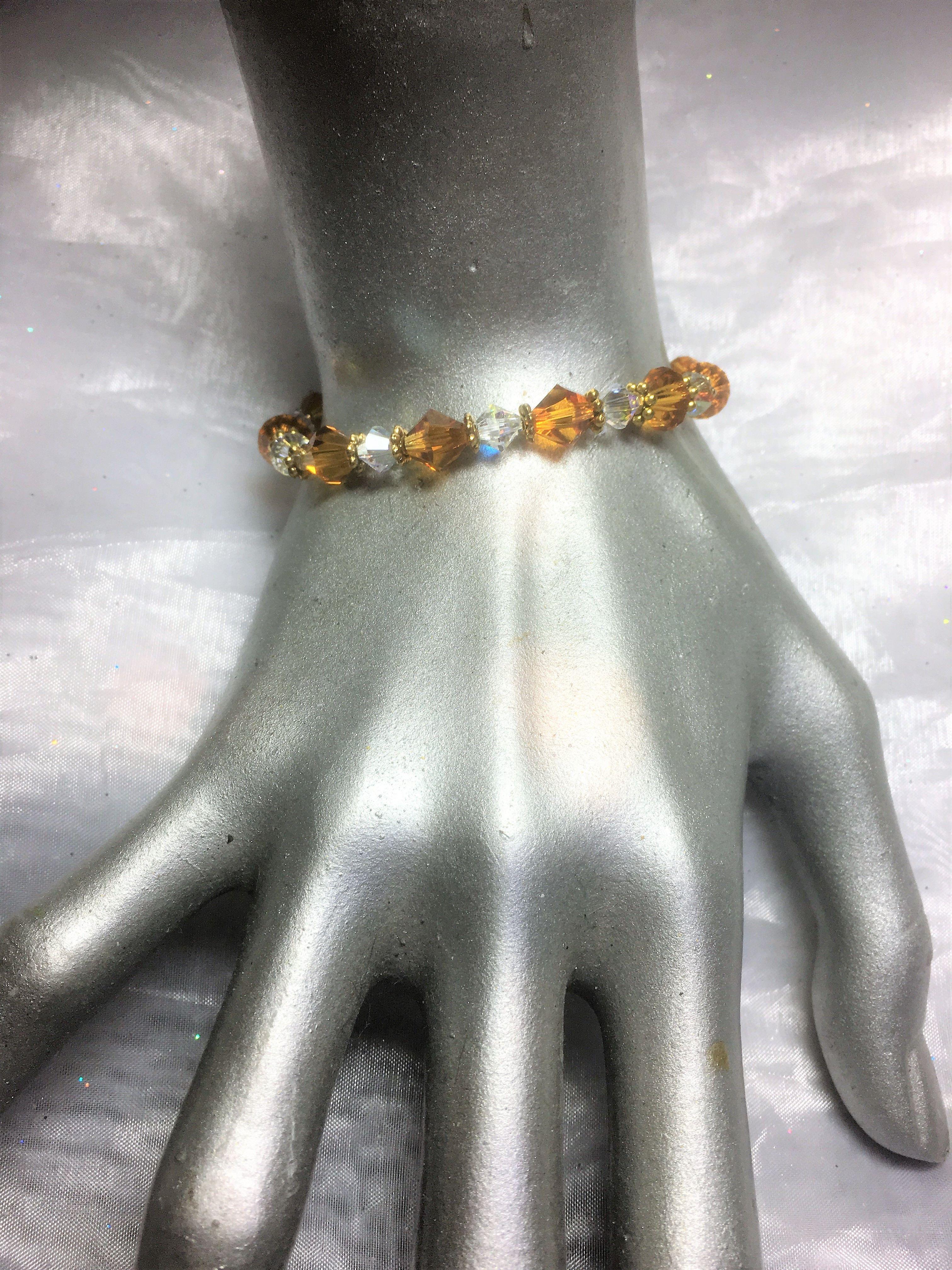 Amber Topaz & Crystal Clear AB Stretch Bracelet #489