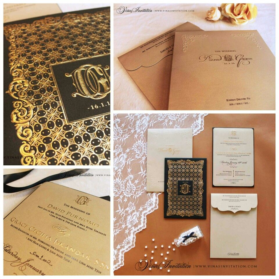 Vinas Invitation Classic Theme Black Gold Embossed Emboss Gold