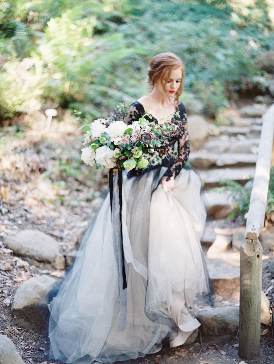 Edgy black lace wedding inspiration lace wedding flower wedding