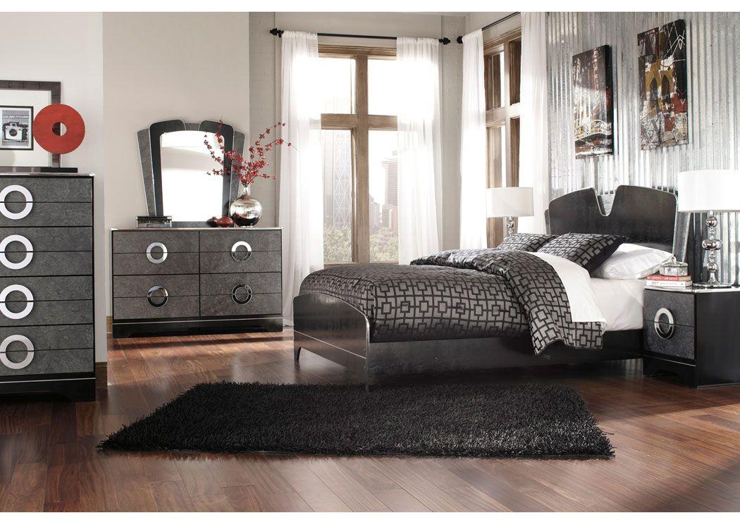 Ramos Furniture Bonnadeen Queen Panel Bed, Dresser & Mirror