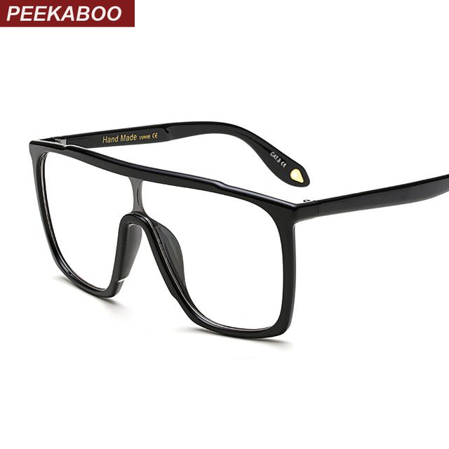 Peekaboo transparent oversized glasses square black one lens clear ...