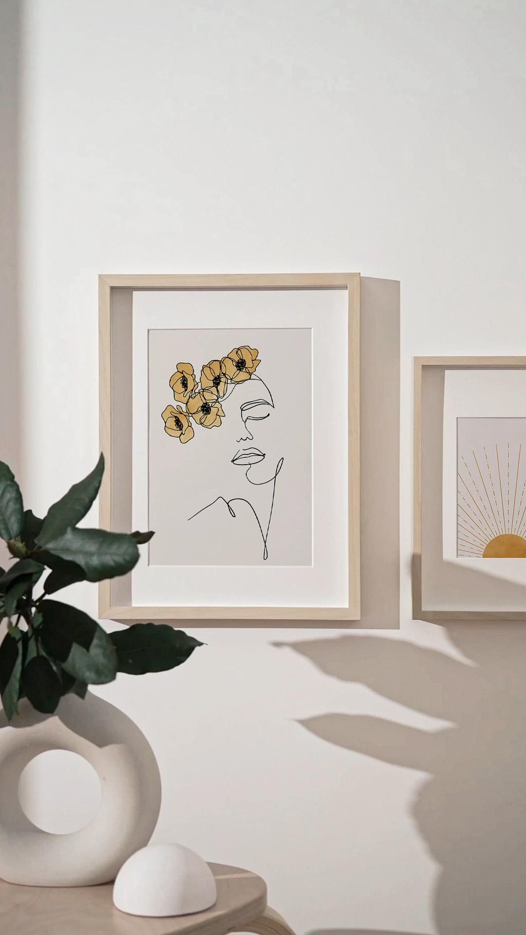 Photo of Face Line Art and Abstract Sunset Printable Art Set of 2, Woman Face and Flowers Line Drawing