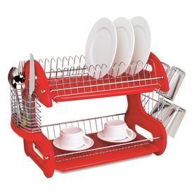 Home Basics 11 In W X 22 In L X H Plastic Dish Rack And Drip Tray Dd10248 Dish Drainers Home Basics Dish Racks