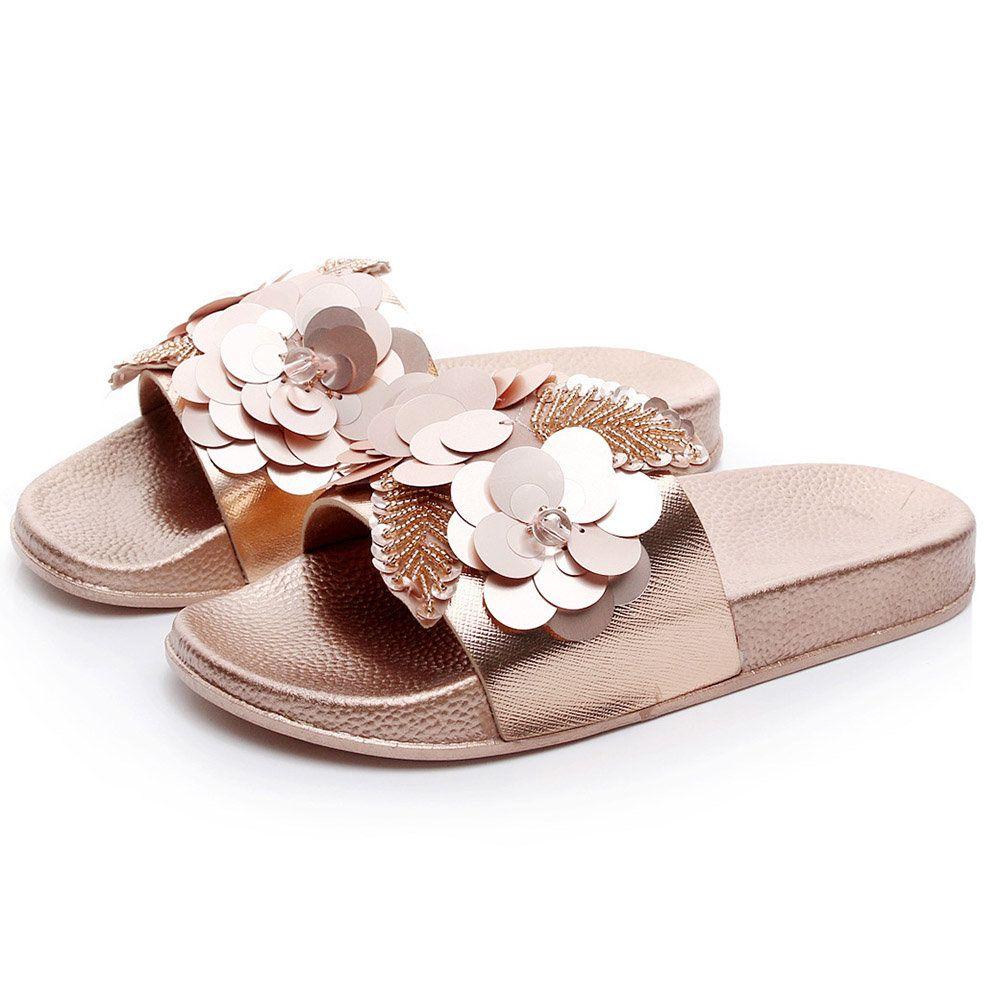 Womens Casual Flower Summer Beach Sandals Slip On Flat Shoes Flip Flop Slippers