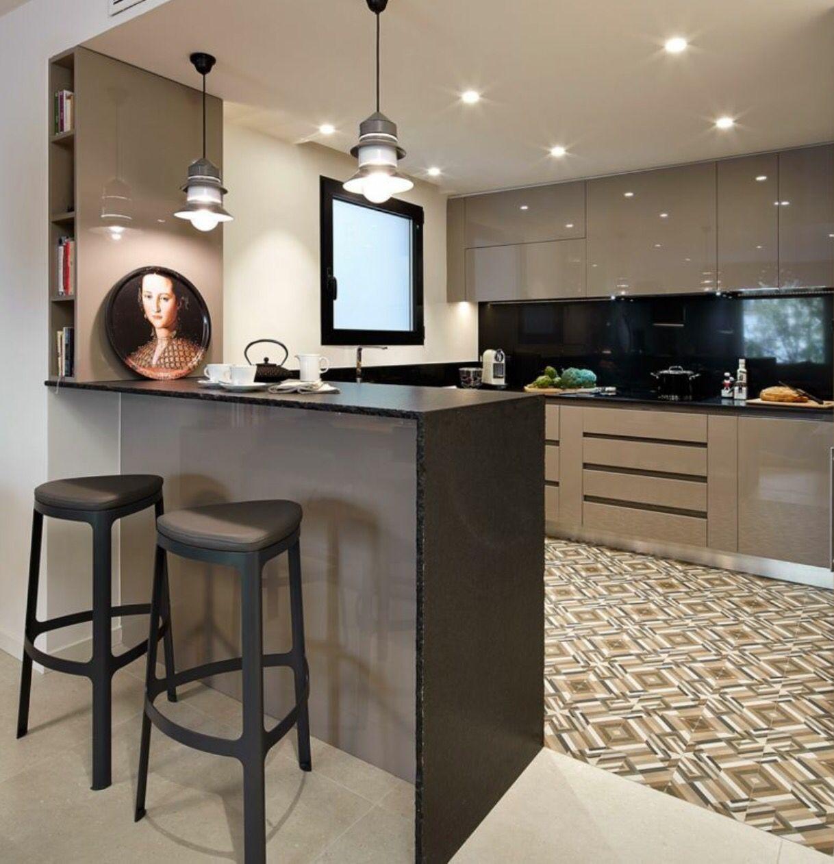 Cocina contemporanea con barra | Kitchen | Pinterest | Cocina ...