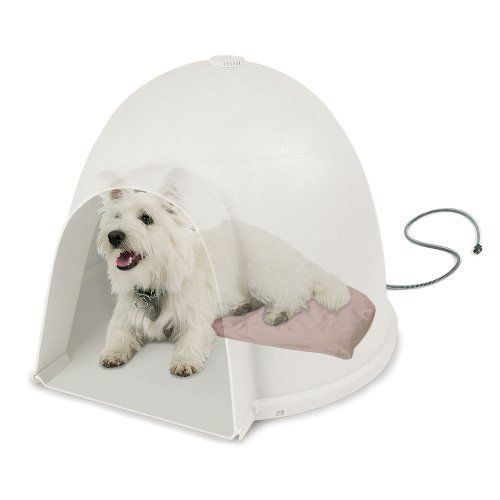 Small Heated Dog Bed Pet Pad Mat Warm Igloo Style Tan For Dogloo