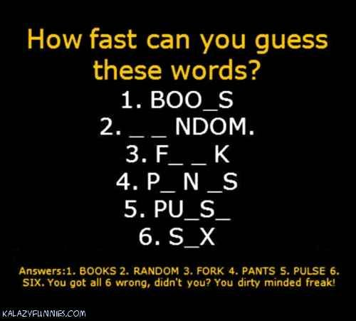 Do I Have A Dirty Mind Picture Quiz
