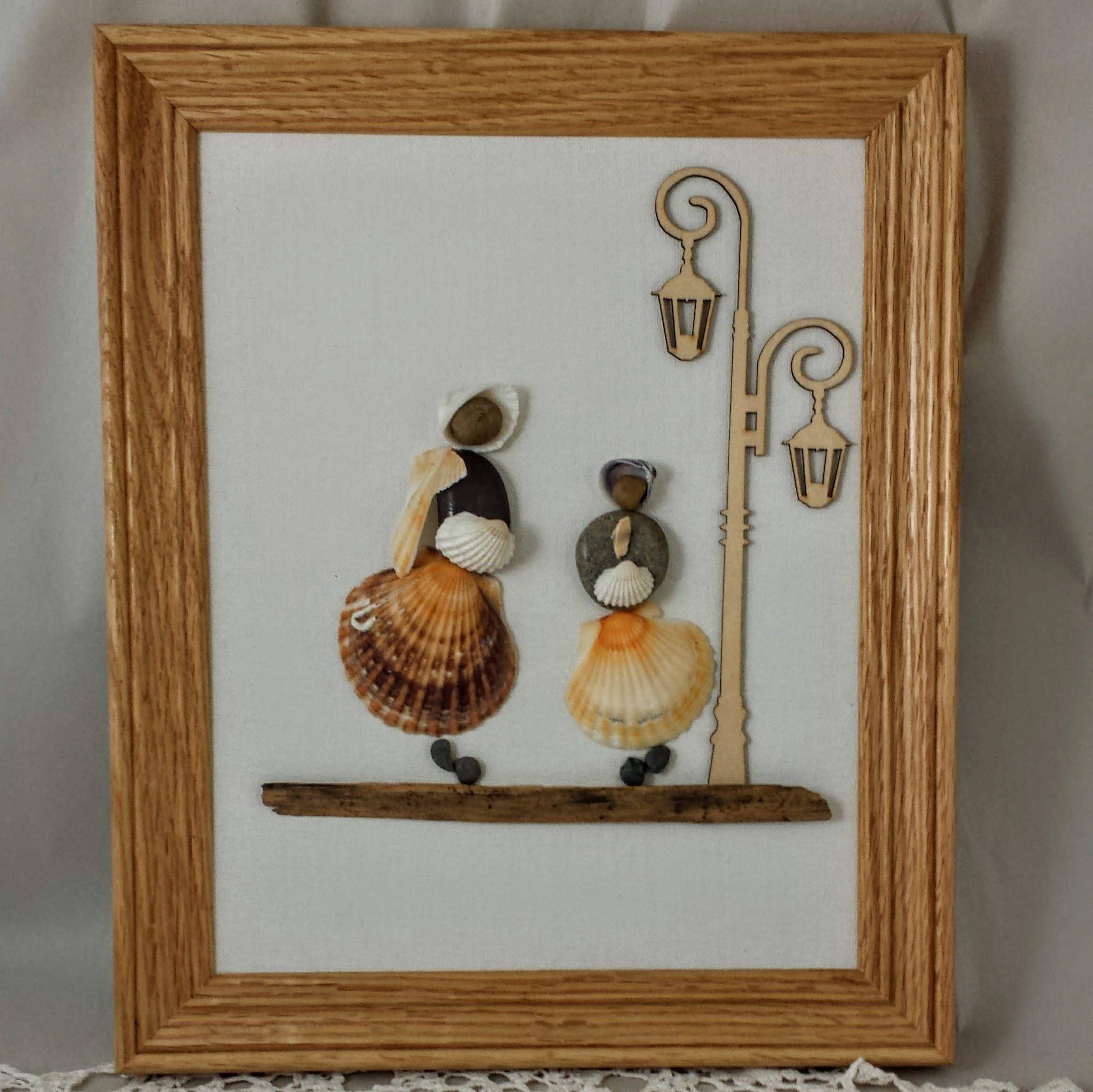 Pebble art, Shell art, Frame, Mother, Daughter, Mom, Mum, Victorian ...