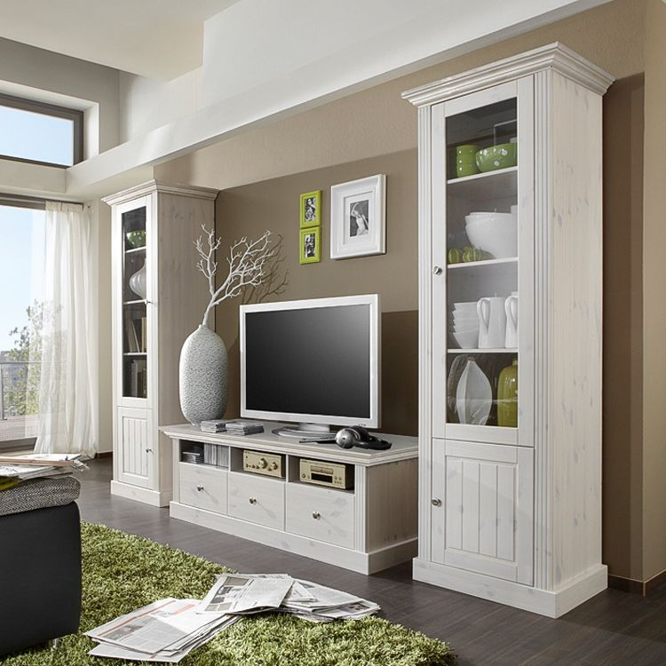wohnwand lyngby 3 teilig kiefer massiv wei steens. Black Bedroom Furniture Sets. Home Design Ideas