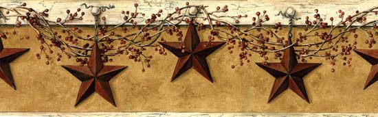 New Primitive Country Rustic BERRY VINE RUSTY STAR Wallpaper Wall ...