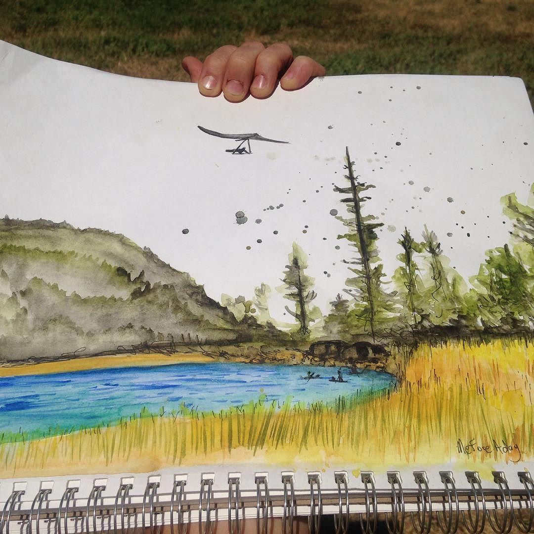#no filter #sketchbook #artist #watercolor #sketchysketch #riffelake #washington #hanggliding #igottatry