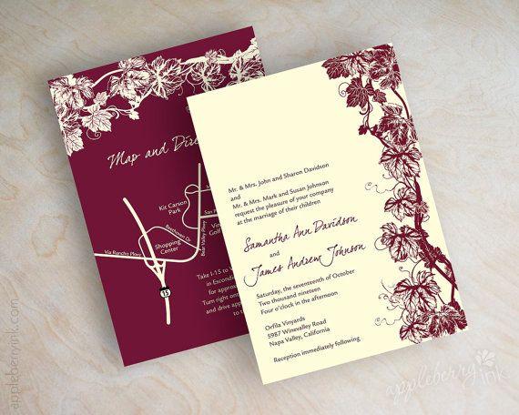 vineyard wedding invitation grape vine invite grapevine wedding stationery winery wedding invitation - Vineyard Wedding Invitations