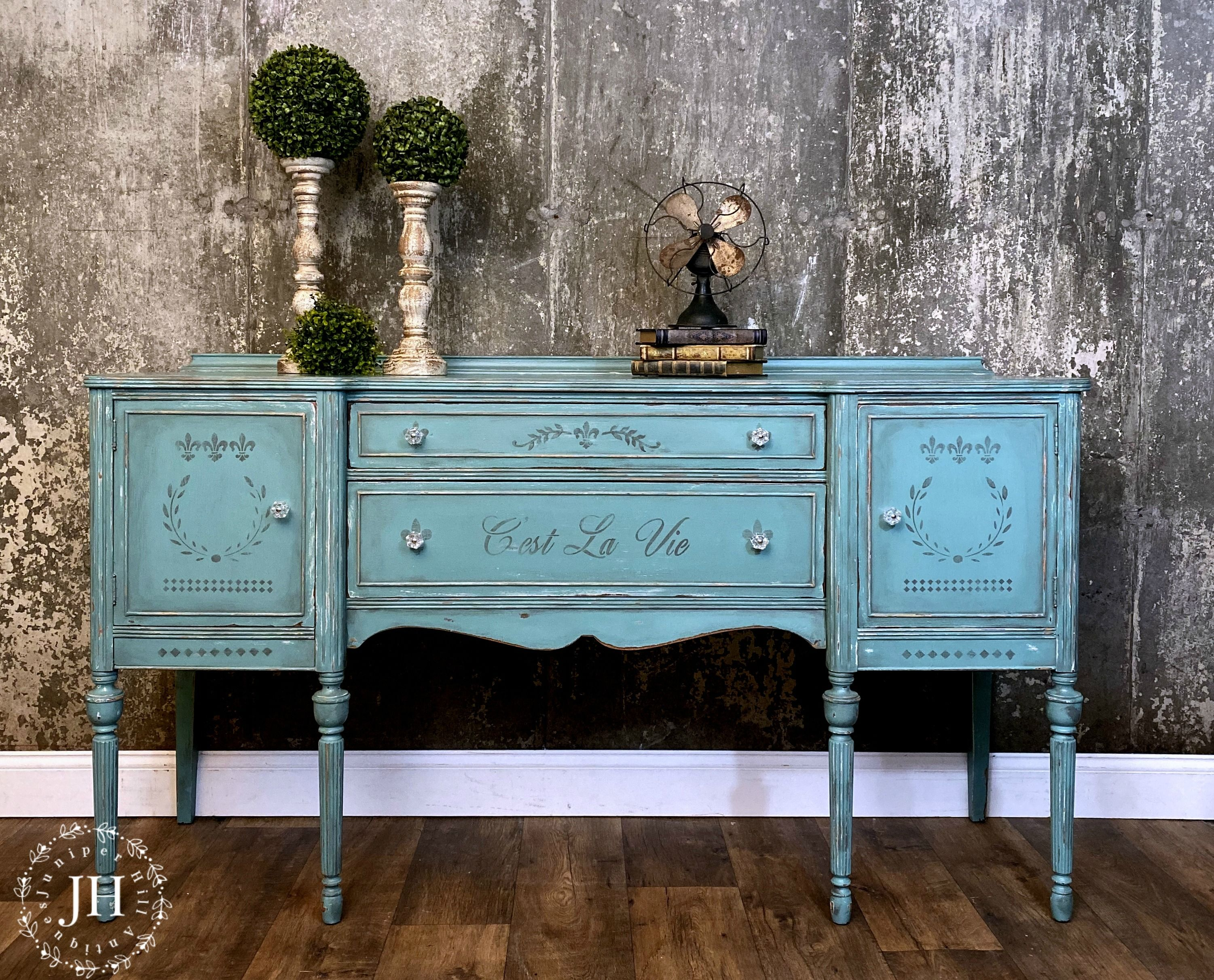 French Stenciling Chalk Paint And A Little Love Painted Furniture For Sale Vintage Painted Furniture Cool Paintings