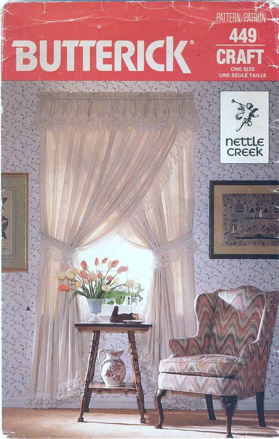 Ruffled Priscilla Curtains Valance Lace Trim Sewing Pattern Erick 449 Uncut Bi Sleeve Pu