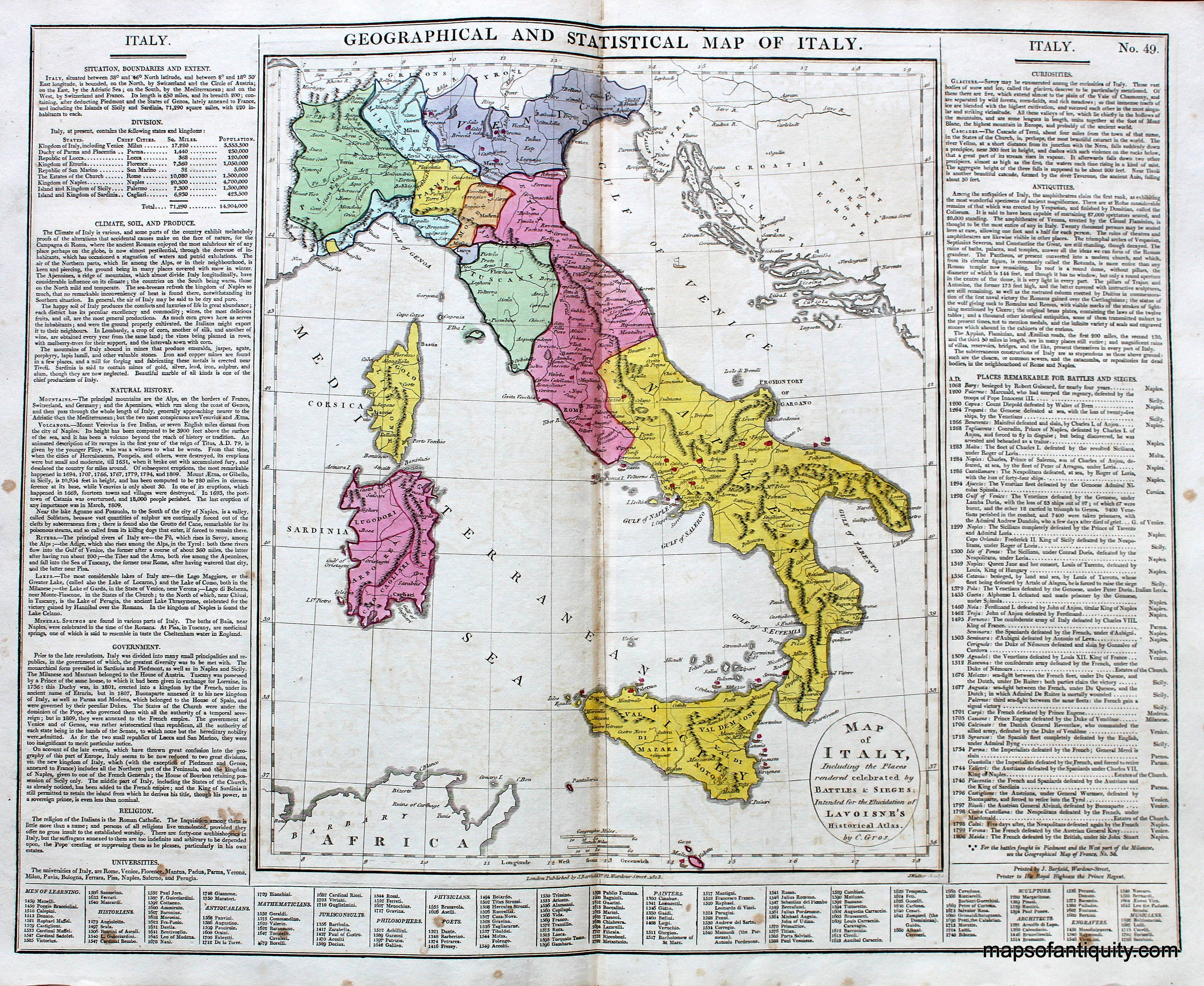 Antique 1828 Geographical And Statistical Map Of Italy Italy