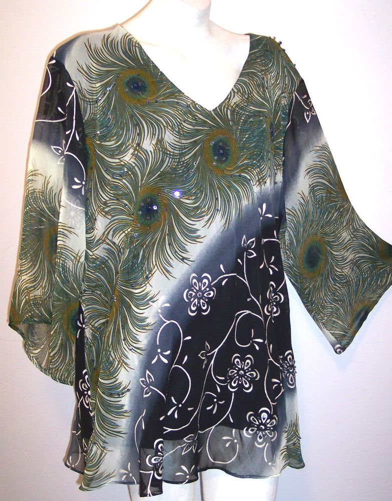 N Touch Women Plus Size 1x 2x 3x Blue Green Tunic Top Blouse Shirt Feather Print