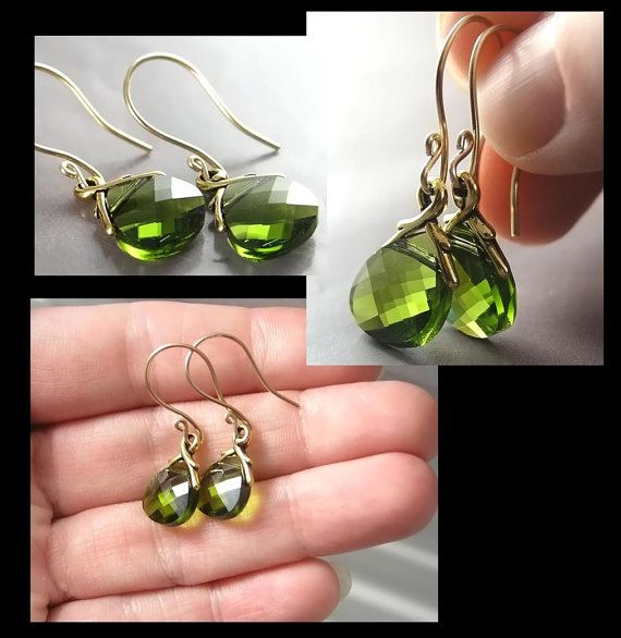 Olive Green Earrings Leaf Green Swarovski Crystal by DorotaJewelry, $18.00