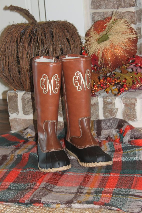 6c0ab680dd4fc Monogrammed Duck Boots - Monogram Boots - Women's Boots -Two Tone ...