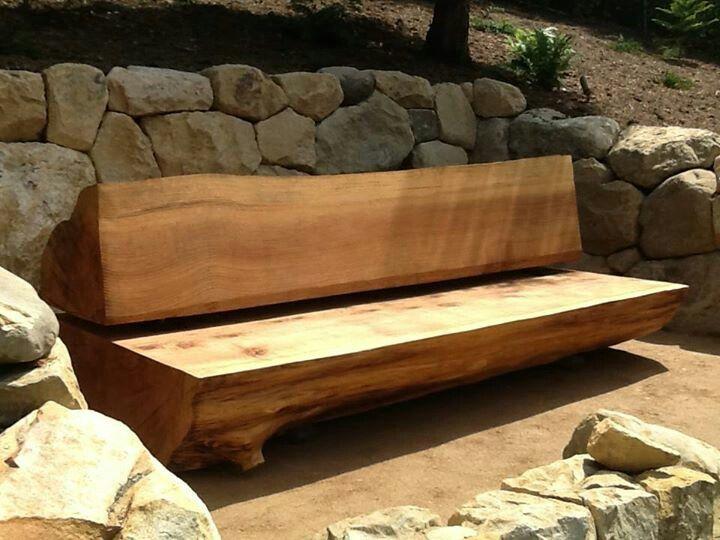 Garden log bench.   Furniture, Wooden furniture, Bench